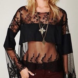 Free People Lace Embroidered Bell Sleeve Top S